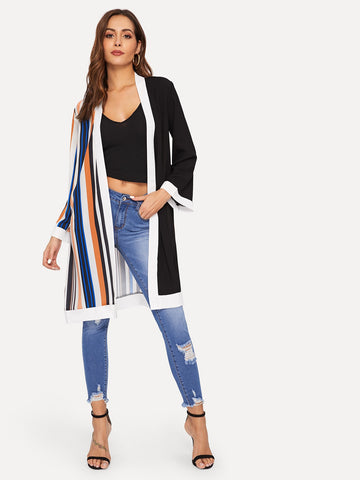 Striped Panel Open Front Kimono | Amy's Cart Singapore