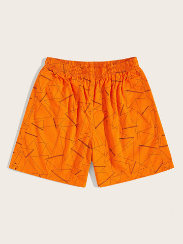 Men Triangle Print Elastic Waist Bermuda Shorts | Amy's Cart Singapore