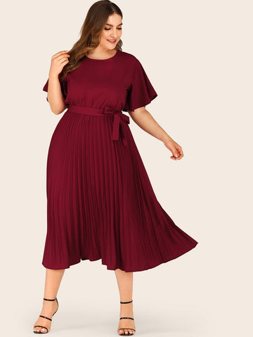 Plus Self Tie Butterfly Sleeve Pleated Dress | Amy's Cart Singapore