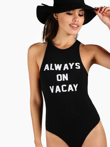 Slogan Print Racer Front Bodysuit | Amy's Cart Singapore