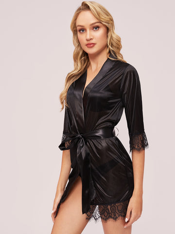 Contrast Lace Robe With Belt | Amy's Cart Singapore