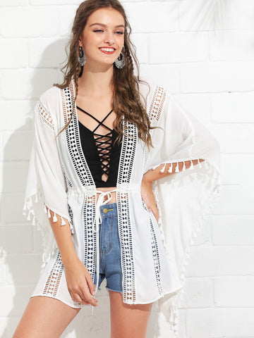 Lace Insert Tassel Trim Drawstring Waist Kimono | Amy's Cart Singapore
