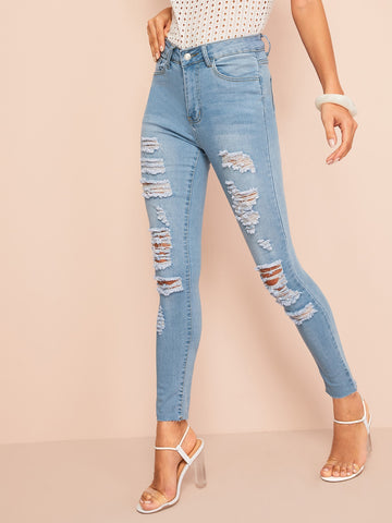 Bleach Dye Ripped Jeans | Amy's Cart Singapore