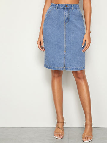 Slit Hem Straight Denim Skirt | Amy's Cart Singapore