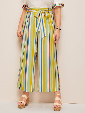 Plus Wide Leg Rainbow Striped Pants | Amy's Cart Singapore