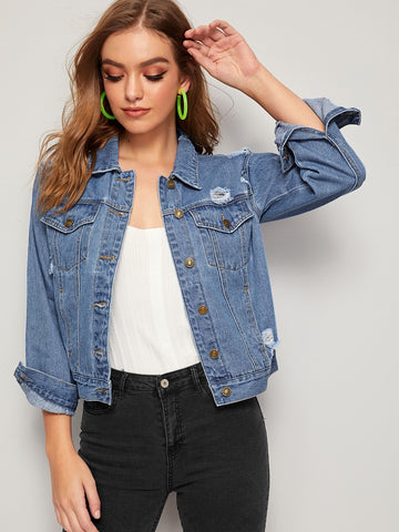 Topstitching Ripped Dual Pocket Denim Jacket | Amy's Cart Singapore