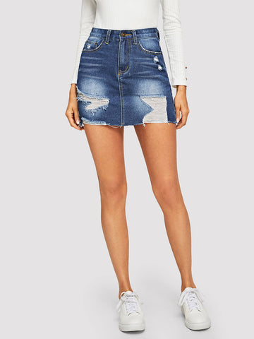 5-pocket Ripped Detail Bodycon Denim Skirt | Amy's Cart Singapore
