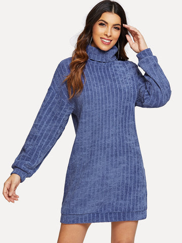 Roll Neck Solid Knit Dress | Amy's Cart Singapore