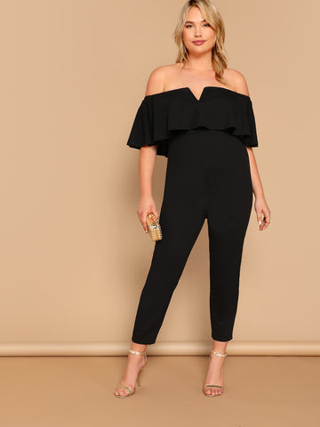 Plus Notched Flounce Off Shoulder Ruffle Jumpsuit | Amy's Cart Singapore