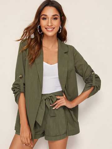 Notched Collar Roll Tab Sleeve Blazer | Amy's Cart Singapore