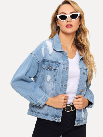 Drop Shoulder Ripped Denim Jacket | Amy's Cart Singapore