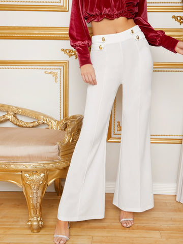 Button Detail Flare Leg Pants | Amy's Cart Singapore