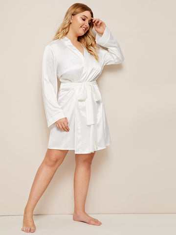 Plus Satin Robe & Belt Without Lingerie Set | Amy's Cart Singapore