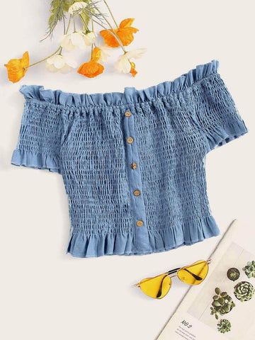 Plus Button Front Shirred Denim Blouse | Amy's Cart Singapore