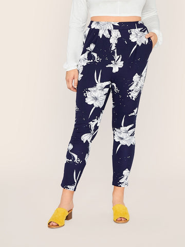 Plus Slant Pocket Floral Print Pants | Amy's Cart Singapore