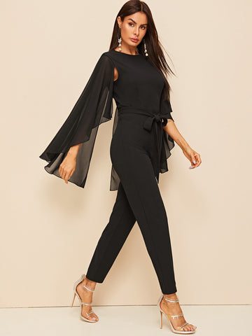 Solid Cloak Sleeve Belted Jumpsuit | Amy's Cart Singapore
