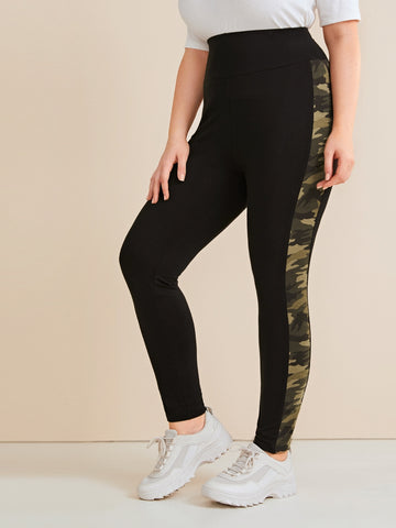 Plus Contrast Camo Sideseam Leggings Without Bag | Amy's Cart Singapore