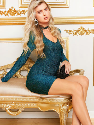 Choker Neck Glitter Bodycon Dress | Amy's Cart Singapore