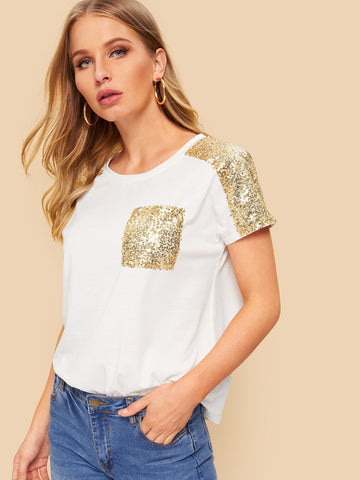 Contrast Sequins Pocket Tee | Amy's Cart Singapore