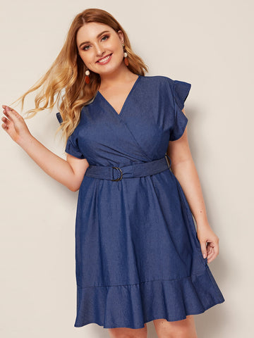 Plus Belted Ruffle Hem Surplice Denim Dress | Amy's Cart Singapore
