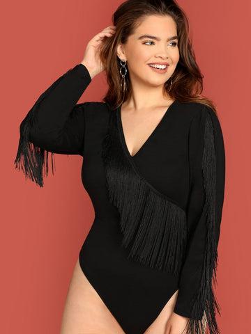 Plus Fringe Detail Form Fitting Bodysuit | Amy's Cart Singapore
