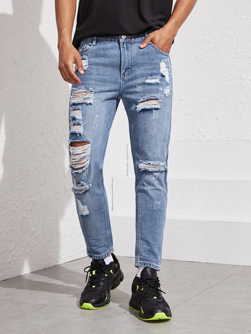 Men Relaxed Washed Ripped Jeans | Amy's Cart Singapore