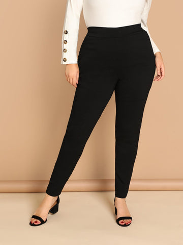 Plus High Waist Solid Leggings | Amy's Cart Singapore