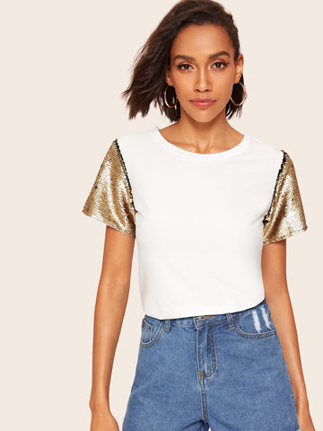 Contrast Sequin Sleeve Tee | Amy's Cart Singapore