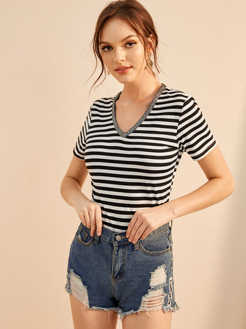 Contrast Tape V Neck Striped Tee | Amy's Cart Singapore