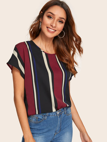 Keyhole Back Striped Top | Amy's Cart Singapore