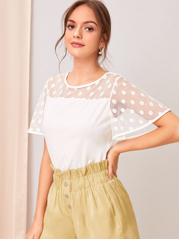 Dot Mesh Yoke Top | Amy's Cart Singapore