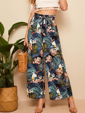 Belted Frilled Waist Tropical Print Palazzo Pants | Amy's Cart Singapore