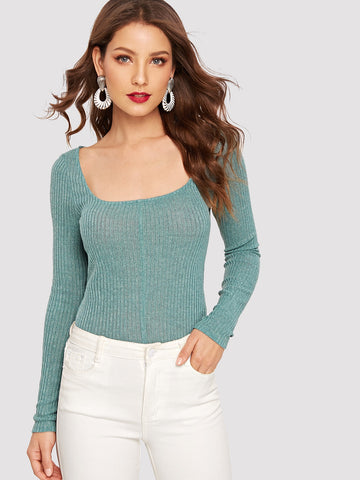 Scoop Neck Rib Knit Fitted Tee | Amy's Cart Singapore