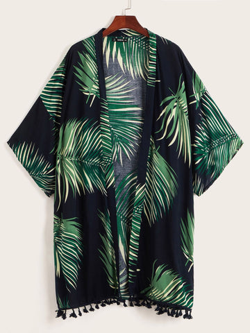 Palm Leaf Print Tassel Hem Kimono | Amy's Cart Singapore