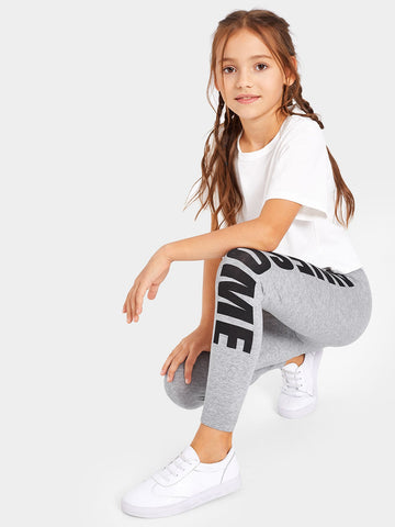 Girls Letter Heathered Grey Leggings | Amy's Cart Singapore