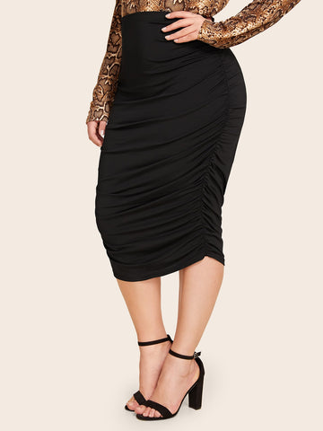 Plus Ruched High Waist Pencil Skirt | Amy's Cart Singapore