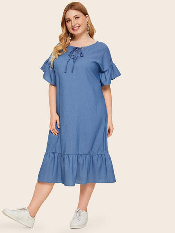 Plus Lace Up Flounce Sleeve Ruffle Hem Denim Dress | Amy's Cart Singapore