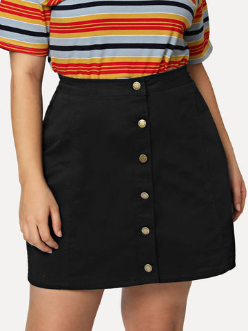 Plus Button Up Denim Skirt | Amy's Cart Singapore
