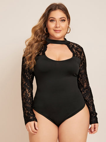 Plus Lace Contrast Peekaboo Front Bodysuit | Amy's Cart Singapore