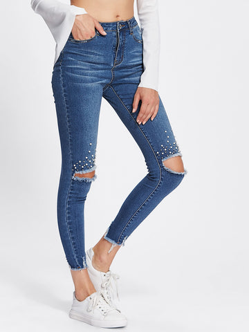 Pearl Beading Destroyed Raw Cut Hem Jeans | Amy's Cart Singapore
