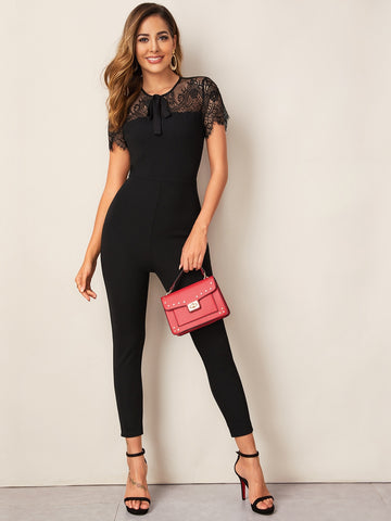 Tie Neck Lace Yoke Skinny Jumpsuit | Amy's Cart Singapore
