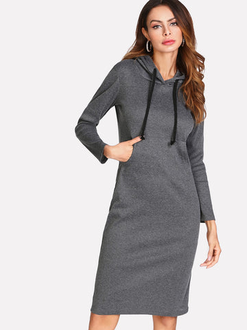 Marled Knit Hooded Sweater Dress | Amy's Cart Singapore