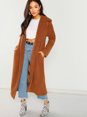 Solid Longline Faux Fur Teddy Coat | Amy's Cart Singapore