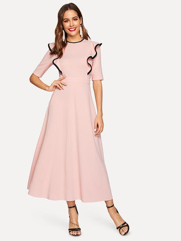 Contrast Binding Ruffle Trim Fit & Flare Hijab Dress | Amy's Cart Singapore