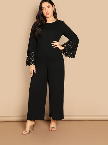 Plus Laser Cut Bell Sleeve Jumpsuit | Amy's Cart Singapore