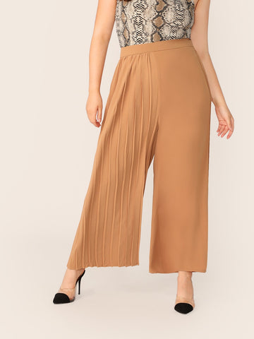Plus One Side Pleated Palazzo Pants Without Belt | Amy's Cart Singapore
