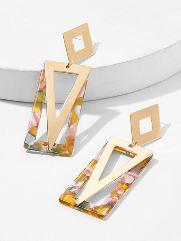 Marble Pattern Rectangle & Triangle Drop Earrings 1pair | Amy's Cart Singapore