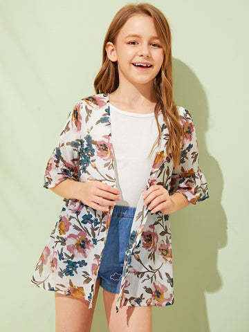 Girls Open Front Flounce Sleeve Floral Print Kimono | Amy's Cart Singapore
