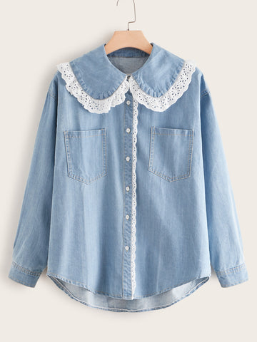 Plus Contrast Eyelet Embroidery Denim Blouse | Amy's Cart Singapore