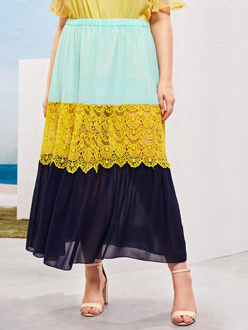 Plus Contrast Lace Color-block Skirt | Amy's Cart Singapore